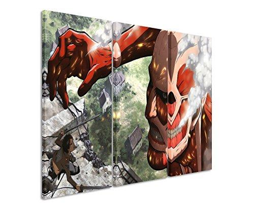 Leinwandbild 3 teilig Attack_on_Titan_3x90x40cm (Gesamt 120x90cm) _Ausführung schöner Kunstdruck auf echter Leinwand als Wandbild auf Keilrahmen