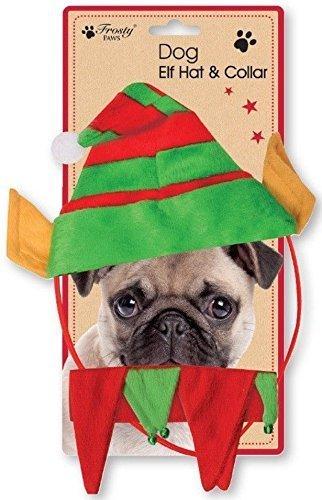 Weihnachten Hund Kragen (Weihnachten Hund Elfen Hut Halsband 2-tlg Set Haustier Welpe Weihnachten Geschenk)