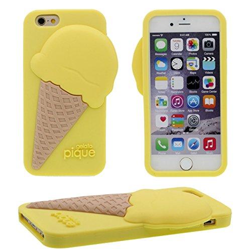 iPhone 6S Coque, Charmant Joli Crème glacée Forme Serie Divers Couleur Clair Doux Silicone Gel Housse de Protection Case pour Apple iPhone 6 / 6S 4.7 inch jaune