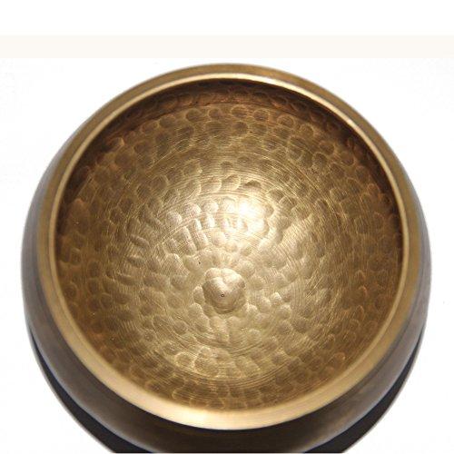 e Klangschale – Chakren Heilung & Meditation Yoga Klangschale mit Klöppel Seidenkissen, 10,2cm tibetische Glocke, buddhistische Schale hergestellt in Nepal 4.5' kupfer (Fallen Klassenzimmer Dekorationen)