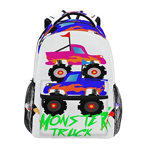 SIONOLY Rucksack,Monster Truck Cartoon Logo,Neu Lässige Daypack School Bookbag Verstellbare Umhängetaschen Reiserucksack -