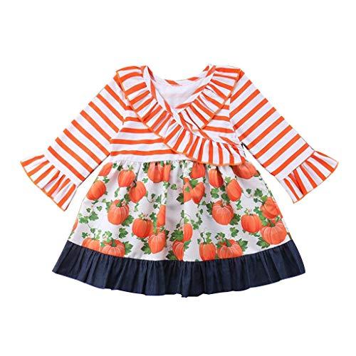Romantic Halloween Kostüme Kinder Baby Mädchen Flare Ärmel Kleid Mädchen Festlich Bowknot Kürbis Gedruckt Kleidung Splicing Kleid Schwestern Halloween Kostüme für Kinder