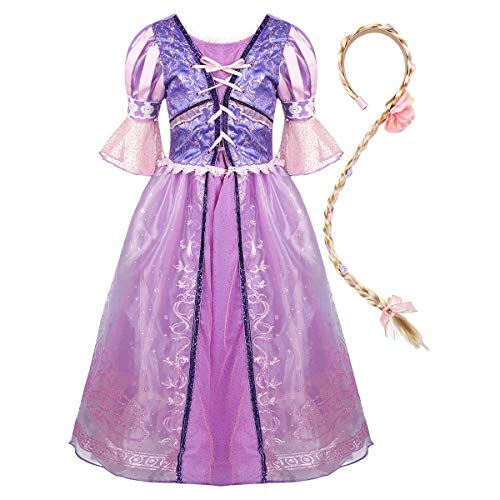 Freebily Kinder Mädchen Glanz Kleid Märchen Prinzessin Kostüm Halloween Cosplay Outfit Mesh Partykleid in Lavendel mit Lang Zopf Lavendel 110-116/5-6Jahre (Lavendel Märchen Kostüm)