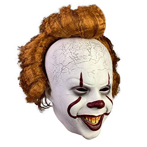 TINGSHOP Halloween Scary Latex Clown Masken, Film Pennywise Cosplay Maske Dark Knight Joker Maske Haare Und Freiliegende Zähne Für Halloween-Kostüm, Cosplay, Ostern, Themenparty -