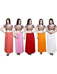 efashions Women's Cotton Petticoat - Multicolor (Size: Free, Pack of 5)