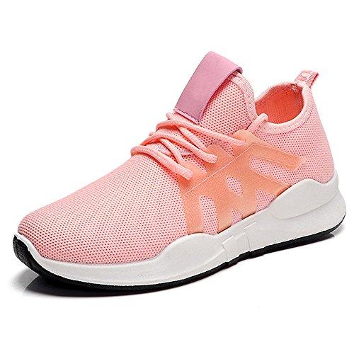 NAN Femmes Chaussures Printemps Eté Version coréenne Confortable Chaussures de Course Rouge Abricot Deux Couleurs Chaussures de Sport Loisirs Série Respirant Seules Chaussures