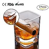 BOSSCAT 2 Stück Whiskey Glas Mit Zigarrenhalter, 14Oz/320Ml Scotch Glas, Altmodische Crystal Cup, Bar Wein Felsen Glaswaren Für Zigarren Zigarette Und Whiskey Liebhaber