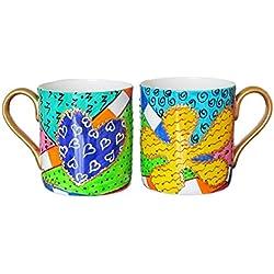 Taza Grande por Café de porcelana de hueso blanca y translúcida Pintada a Mano Caja de Regalo