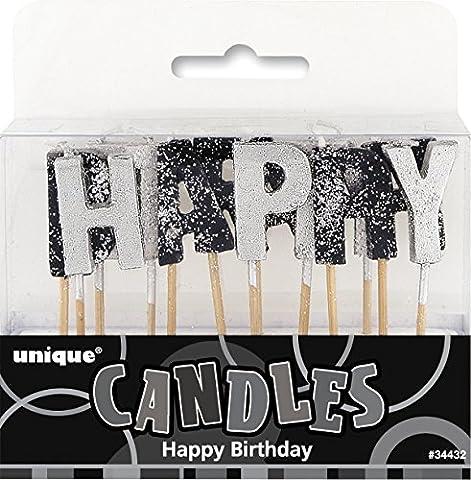Unique Party - 34432 - Paquet de 13 Bougies d'Anniversaire - Happy Birthday - Noir Glitz