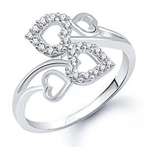 Meenaz Heart Ring for Girls & Women Silver Plated FR176