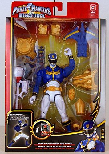 Power Rangers - 35181 - Megaforce - Blauer Ultra Mode Ranger - mit Rüstung und Waffen - ca. 16 cm - inkl. 1 Sammelkarte (Ranger Blau Power Megaforce)
