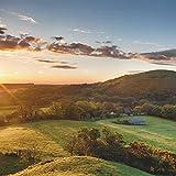 Wallario AluDibond, Bild auf Aluminium, Schlosspanorama in England bei Sonnenaufgang- 50 x 50 cm in Premium-Qualität: gebürstete Oberfläche, freischwebende Optik