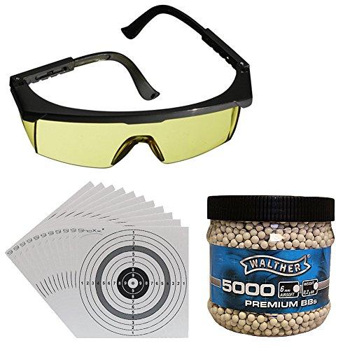 Schießbrille Umarex mit gelben Gläsern für Softair / Airsoft + Walther Premium Softair BBs Kal. 6...