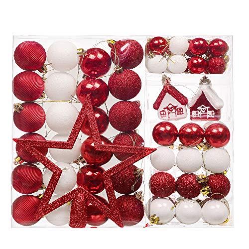 Valery madelyn 60 pezzi palle di natale in plastica per la decorazione dell'albero di natale bianche rosse palline di natale con albero di natale top stella ghirlande decorazioni natalizie