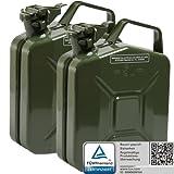Oxid7 2x Benzinkanister Kraftstoffkanister Metall 5 Liter Olivgrün mit UN-Zulassung - TÜV Rheinland Zertifiziert - Bauart geprüft - für Benzin und Diesel