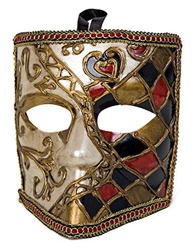 Venezianische Bauta-Maske gold (Maske Venezianische Bauta Schwarze)