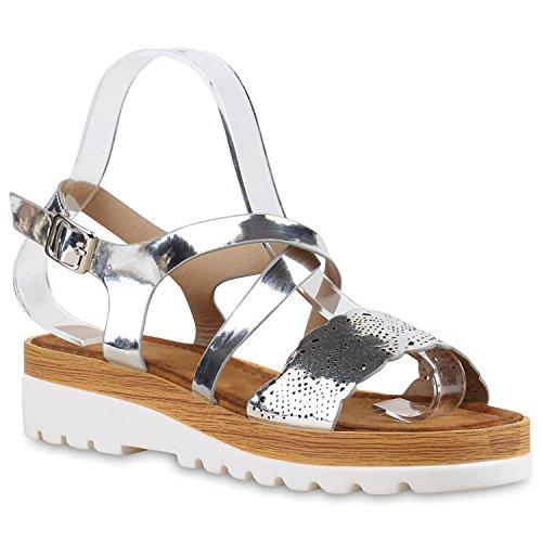 Damen Komfort-Sandalen Metallic Sandale Bequemschuh Profilsohle Silber Lack Löcher