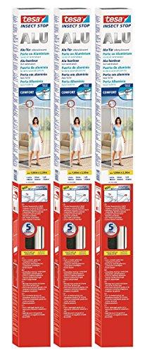 3 Stück tesa Fliegengitter Alurahmen für Türen, Rahmenfarbe: weiß, 1m x 2,2m
