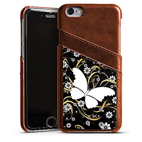Apple iPhone 4 Housse Étui Silicone Coque Protection Papillon Fleur Fleur Étui en cuir marron