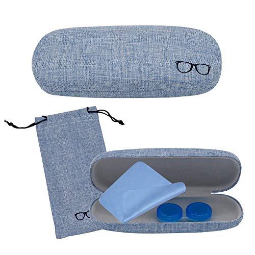 SwirlColor Brillenetui Kinder, Brillenetui Blau Leinen Retro Brillenetui für Damen Damen Mädchen Jungen Herren mit Brillenetui, Brillenputztuch, Kontaktlinsenetui 4-TLG