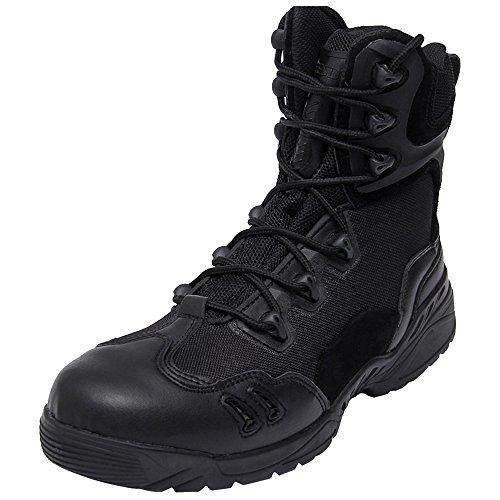 Eastlion Herren Anti-Skid und wasserdichtes Leder Outdoor saisonale Wanderschuhe Stiefel Stiefel Wandern Schuhe Armee Kampfstiefel Schwarz