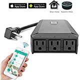 Houkiper Outdoor IP44 Waterproof Smart Extension Socket 3 Outlets Separately Control Power Strip Support Voice Control, Timer Function By Smartphone, Works With Amazon Alexa
