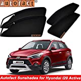 #5: Autofact Magnetic Window Sunshades/Curtains for Hyundai I20 Active [Set of 4pc - Front 2pc with Zipper ; Rear 2pc Without Zipper] (Black)