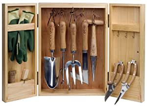 Gardeners 11 Piece Hand Tools and Cabinet Store Set