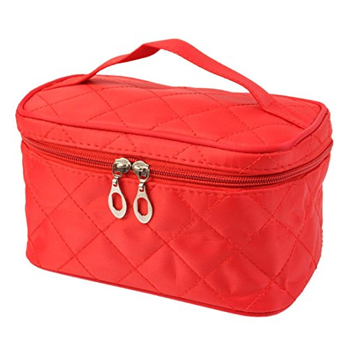 Fulltime® Imperméable Femmes Place Case grain de Pure Color Cosmetic Bag Rouge