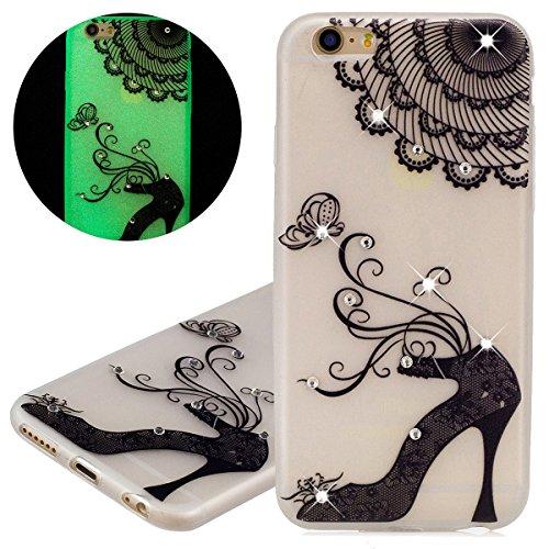 Custodia iPhone 6 - Cover iPhone 6S - ISAKEN Fashion Agganciabile Luminosa Custodia con LED Lampeggiante PU Pelle Portafoglio Tinta Unita Cover Caso per Apple iPhone 6(4.7), Luxury Protettivo Skin Cu tacco alto
