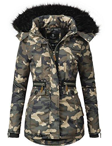 Navahoo Damen Winter-Jacke Winter-Mantel Steppmantel Schätzchen (vegan hergestellt) Camouflage Gr. L (Befestigt Kapuze Mit Gefüttert)
