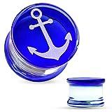 BodyJewelryonline Misuratori di Piercing dell'orecchio adulti - coppia di ancoraggio incisa faccia blu Pyrex vetro spine della sella (16mm - 5/8 di pollice)