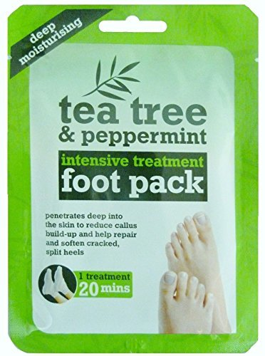 NO.1 COFFEE & TEA PRODUCTS 3 X TEA TREE & PEPPERMINT INTENIVE TREATMENT FOOT PACK DEEP MOISTURISING BY TEE TREE BEST BUY REVIEWS UK