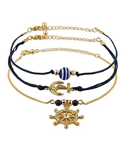 six-marine-3er-set-armbander-armschmuck-gold-blaue-kordel-anker-ruder-gestreifte-kugel-460-437