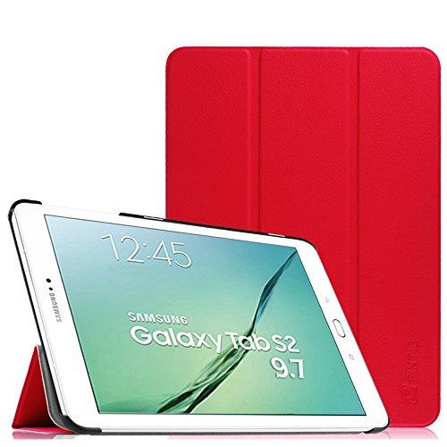 Fintie Samsung Galaxy Tab S2 9.7 Hülle Case - Ultra Schlank Superleicht Ständer SlimShell Cover Schutzhülle Tasche mit Auto Schlaf / Wach Funktion für Samsung Galaxy Tab S2 T810N / T815N / T813N / T819N 24,6 cm (9,7 Zoll) Tablet-PC, Rot