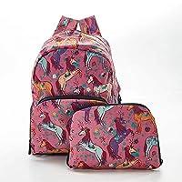 Faye UK Ltd. Eco-Chic Foldable Expandable Mini Backpack Pink Unicorn