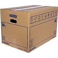 BANKERS BOX 6207301 Pack 10 Cajas de Cartón 55 x 35 x 35 cm con Asas para Mudanzas, Almacenaje y Transporte Ultraresistentes, Canal Doble Reforzado (Talla XL) 67 litros