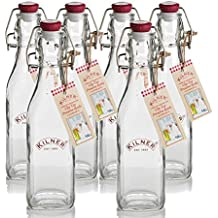 Kilner Traditional 6 Piece Set Vintage Style Square Airtight Clip Top Preserve Glass Bottles, 0.25 Litre