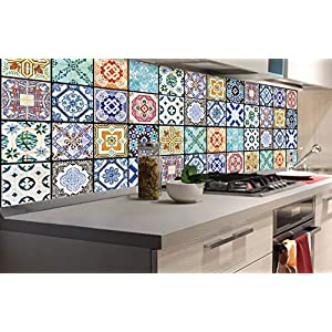 DIMEX LINE Küchenrückwand Folie selbstklebend AZULEJOS 180 x 60 cm | Klebefolie - Dekofolie - Spritzschutz für Küche | Premium QUALITÄT