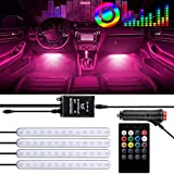Car LED Strip Light, 4pcs 48LED DC 12V LED Car Interior Lights Multicolor Music Under Dash Lighting Kit RGB with Sound Active Function, Wireless Remote Control, Car Charger