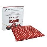 Umoi - Coussin certifié écologique pour enfants. Format carré, 24x 24cm (grande taille), avec env. 400g de noyaux de cerises. Housse 100% coton