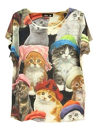 YICHUN Femme Fille Tops Tee-shirt T-Shirts de Loisir Manche Courte Blouse Tunique Jolis Chats