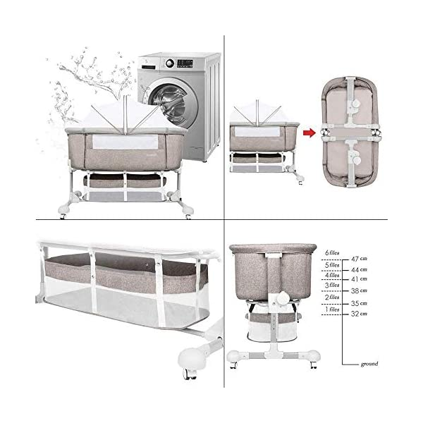 LYYJIAJU Baby Crib Portable Bassinet Bed Infant Kids Travel Playpen Multifunction Height Adjustable Pack Deluxe Beds Pocket Changer Cribs Bag & Caster LYYJIAJU Material: Aluminum alloy tube + cotton and linen (sturdy, environmentally friendly, no odor, no formaldehyde, no toxicity); applicable age: newborn - 2 years old Features: with mosquito net; large-capacity storage bag; foldable, free installation, easy to carry; universal wheel, with brake, silent; breathable mesh bed; seamless splicing bed size (length x width x height): 110X56X78CM; inner diameter: 100x50cm; height adjustable: 6 files (32-67cm) 6