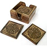 Set of 6 wooden Drinks Coasters with celtic design in Wooden Box