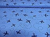 Jersey Stoff / Kinderstoff / Erwachsene / Flugzeug / blau