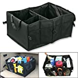 Car Boot Tidy Trunk Organizer, SUMERSHA 56CM Multipurpose Black Oxford Fabric Foldable Car Cargo Storage Case for Travel Vacation Camping