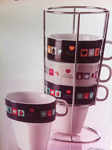 Set Ensemble 4 Grandes Tasses Café Mugs Sur Rack En Métal Spécial Empilables Déco COEUR