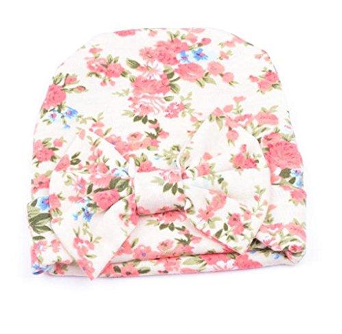Covermason Neugeborene Baby Kinder Hüte Mit Blume bowknot Blume (Beige)