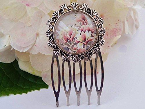 Kleiner Haarkamm mit Magnolien, Blüten Haarschmuck