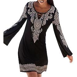 QinMM Vestido de la túnica del Boho del Halter de la Mujer, Mini Vestido de la Fiesta de la Playa de Manga Larga Falda (XL, Negro)